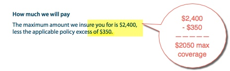 car rental excess coverage amount