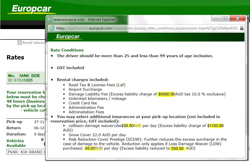 Expensive car rental insurance with Europcar